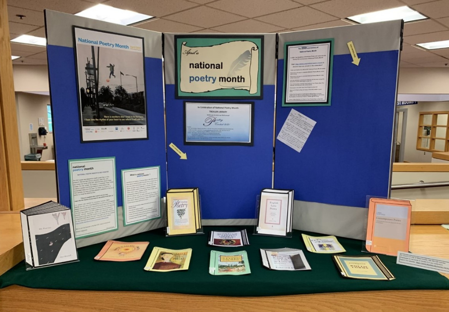 poetry month display at Trexler Library